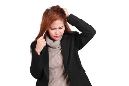 too serious working women, it made her headache isolated and white background