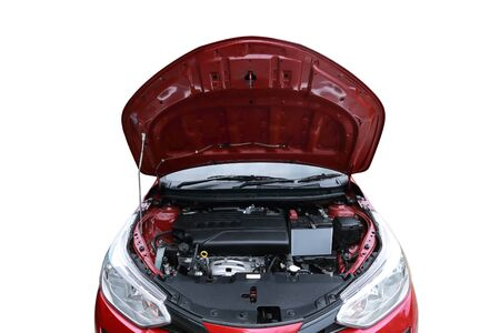 new car open hood with clean engine isolated with white background