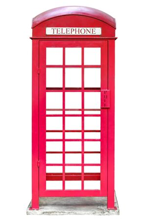 red public telephone booth isolated and white background