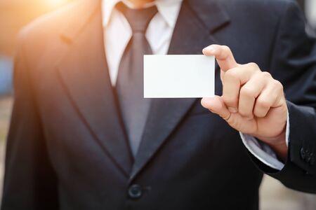 businessman giving blank name card Stok Fotoğraf