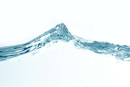 Close up water splash with air bubbles. Fresh and clean surface aqua flowing in wave and clean water on white background isolated. Advertising image with free space for your work
