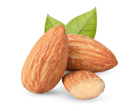 Close up peeled almonds nuts and leaf on white background isolated for your advertising with clipping path and full depth of field Stok Fotoğraf