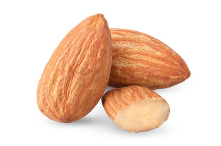 Close up peeled almonds nuts on white background isolated for your advertising with clipping path and full depth of field Stok Fotoğraf