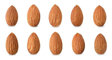 Close up peeled almonds nuts on white background isolated for your advertising with clipping path
