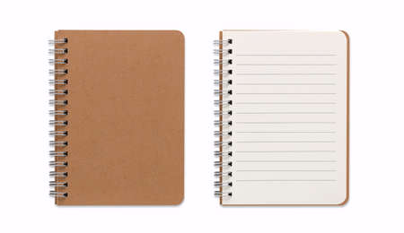 Top view closed and opened image of spiral blank notebook or notepad isolated and white background with clipping path