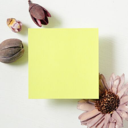 Reminder sticky notes with flower on white background