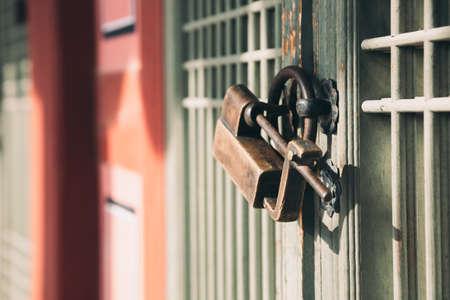 Korean traditional wooden door and doorknob Stock Photo