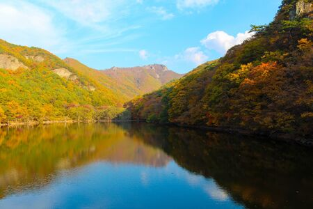 Jusanji Reservoir - The mountain autumn landscape with colorful forest in Juwangsan National Park, South Korea
