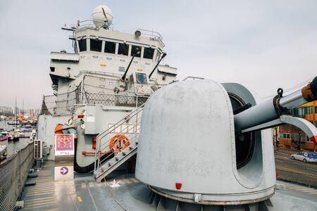 Pohang, Korea - February 8, 2017 : Pohang ship museum, Military ship patrol combat corvette in Pohang harbor city Editorial