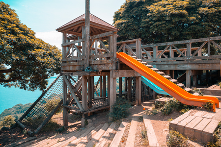 Playground equipment with blue ocean in Fukuoka, Japan