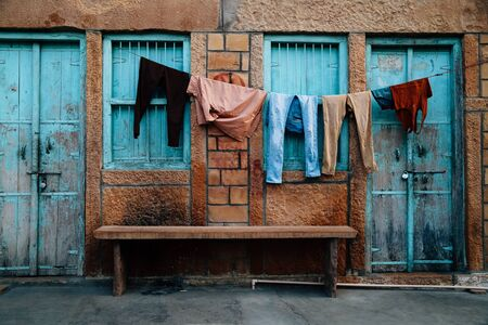 Old house and hanging laundry in Jaisalmer, India