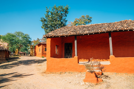 Indian folk village Shilpgram, traditional house in Udaipur, India