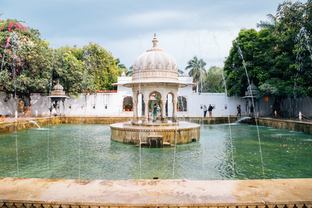 Udaipur, India - December 11, 2017 : Fountain at Saheliyon Ki Bari (Garden of the Maidens) Editorial