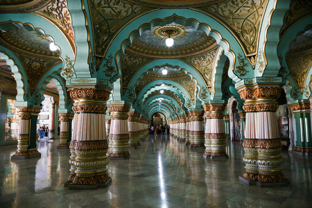 Mysore, India - December 29, 2017 : Mysore Palace historical architecture