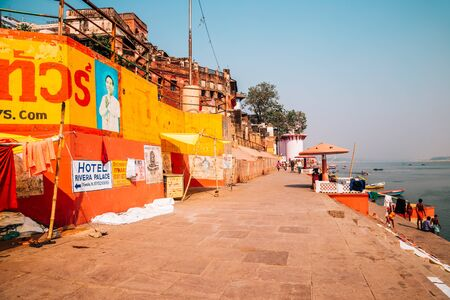 Varanasi, India - November 22, 2017 : Ganges river ghat and people Editorial