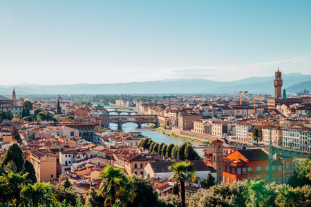 View of Florence cityspace from Piazzale Michelangelo in Italy