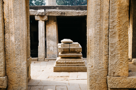 Underground Siva Temple, Ancient ruins in Hampi, India Stock Photo