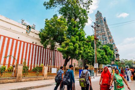 Madurai, India - January 2, 2018 : Meenakshi Amman Temple and tourist