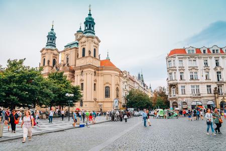 Prague, Czech Republic - August 29, 2016 : Saint Nicholas Cathedral and Prague old town square