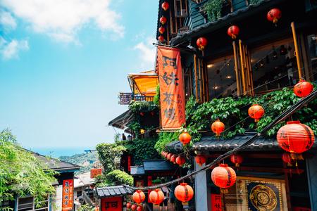 Jiufen, Taiwan - April 26, 2018 : Teahouse at Jiufen old street Editorial