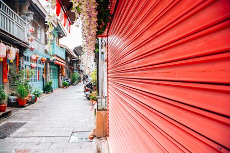 Shennong Street, vintage style shop and cafe street in Tainan, Taiwan