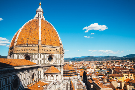 Santa Maria del Fiore cathedral Duomo and old town in Florence, Italy