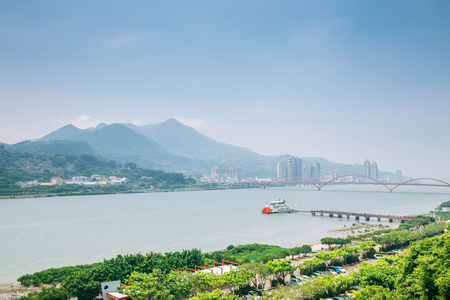 Tamsui river and Guandu bridge in Taipei, Taiwan