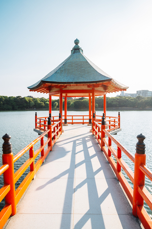 Ohori park, lake and gazebo in Fukuoka, Japan