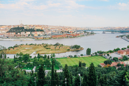 Golden Horn and Istanbul cityscape from Pierre Loti hill in Turkey Stock Photo