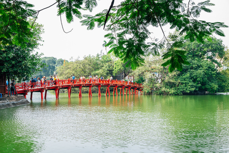 Hanoi, Vietnam - October 12, 2018 : Hoan Kiem lake and Den ngoc son temple bridge