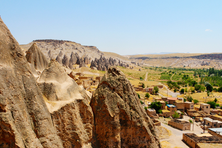 Selime cathedral monastery ancient ruins at Green tour in Cappadocia, Turkey 免版税图像 - 116251832