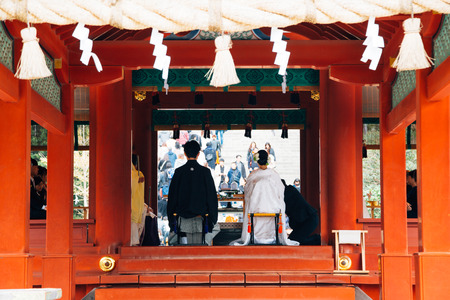 Kamakura, Japan - November 24, 2018 : Wedding ceremony at Tsurugaoka Hachimangu Shrine