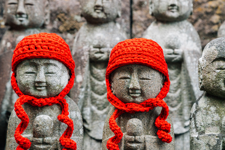 Stone Jizo buddha statue at Hasedera temple in Kamakura, Japan