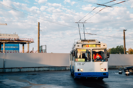 Khabarovsk, Russia - September 14, 2018 : Old local tram bus