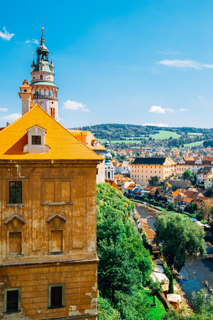 Cesky Krumlov old town and Vltava river in Czech