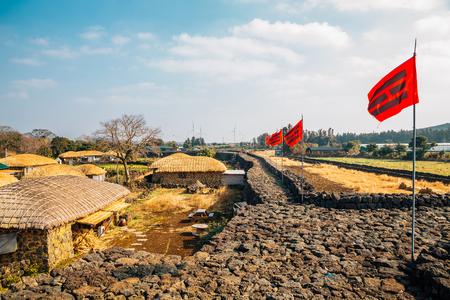 Seongeup Folk Village, Korean old traditional town in Jeju Island, Korea 스톡 콘텐츠