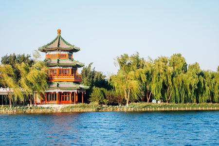 Shichahai Houhai lake and Chinese traditional pavilion in Beijing, China
