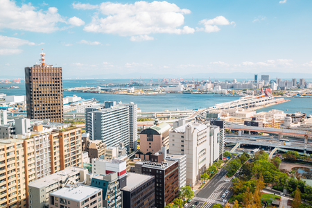 Kobe harbor and cityscape from Kobe city hall observation deck in Japan
