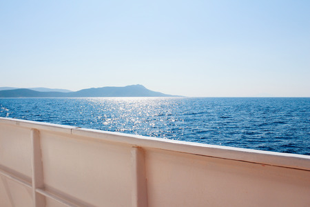 Kos island Aegean sea from cruise ship in Greece 免版税图像