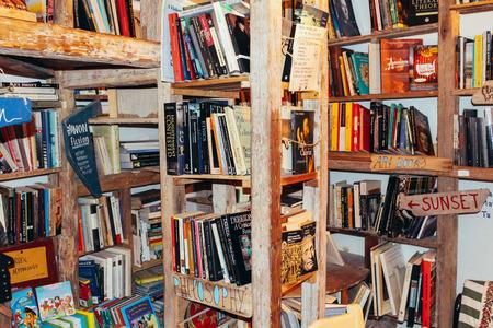 Santorini, Greece - July 20, 2013 : Oia town Old book store Editöryel