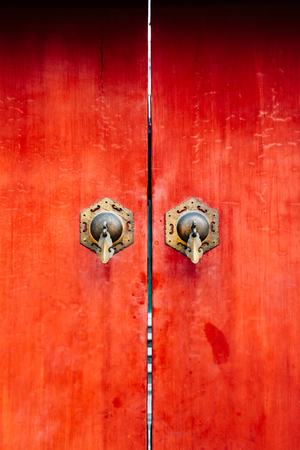 Chinese old red door texture background Stock Photo