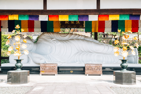 Ehime, Shikoku, Japan - April 22, 2019 : Kosho-ji temple buddha statue at Uchiko town 報道画像