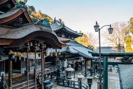 Nara, Japan - April 4, 2019 : Ikoma Hozan-ji temple