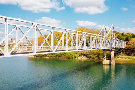 Old bridge on Asahi river near Okayama Castle in Japan