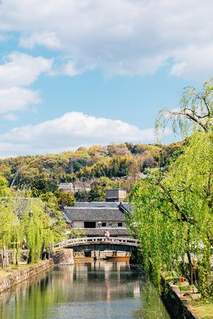Kurashiki Bikan Historical Quarter, canal and traditional village in Okayama, Japan Imagens