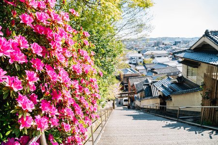 Kurashiki traditional village with spring flowers in Okayama, Japan