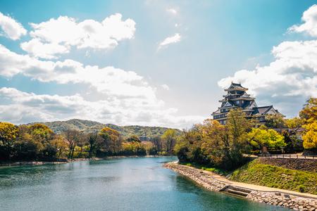 Okayama Castle and Asahi river in Japan