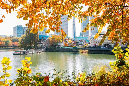 Seoul, Korea - November 2, 2018 : Lotte world amusement park and Seokchon lake with autumn maple