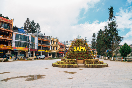 Sapa, Vietnam - October 15, 2018 : Sapa town square