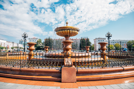Khabarovsk, Russia - September 14, 2018 : Lenin square fountain